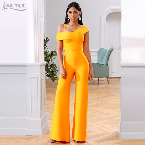 Image of Adyce 2020 New Summer Orange Two Pieces Sets Sexy Spaghetti Strap Short Sleeve Top & Long Pants Women Fashion Club Party Sets