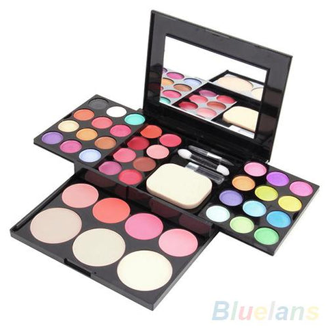 Image of Blusher Lip Gloss Eyeshadow Palette Makeup Kit Brush Mirror Cosmetic Set With 3 layers easy-to-carry design