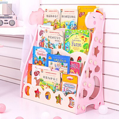 Image of Children's Bookshelf Floor Cartoon Plastic Storage Rack Kindergarten Map Bookshelf  Storage Cabinet Economic Student Bookcase