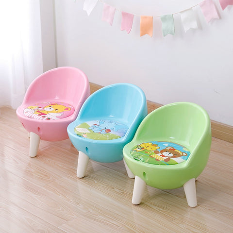 Image of Children's Chair Back Call Chair Thickening Baby Small Stool Children Eat Plastic Chair Non - Skid Plastic Household.