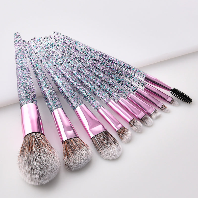 10Pcs Glitter Diamond Crystal Handle Makeup Brushes Set Eyebrow Eyeshadow Powder Foundation Face Make Up Brush Cosmetic Tool Kit