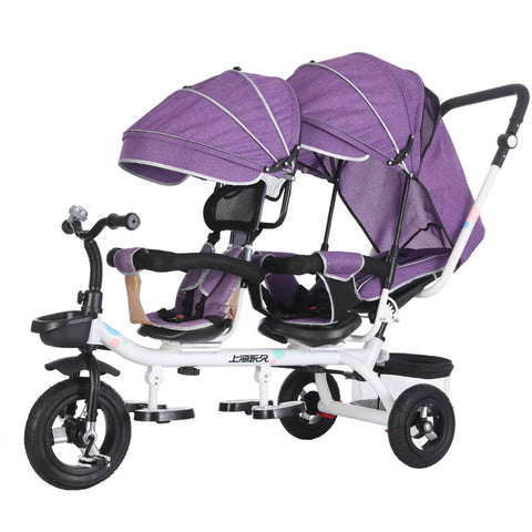 Image of Permanent Second Child Artifact Tricycle Child Double Bicycle Twin Baby Stroller Baby Stroller Children Bed