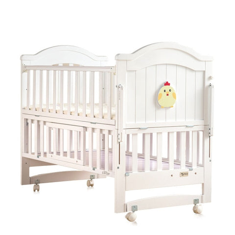 Image of Crib baby bb bed cradle bed multifunctional child newborn stitching bed solid wood unpainted bed