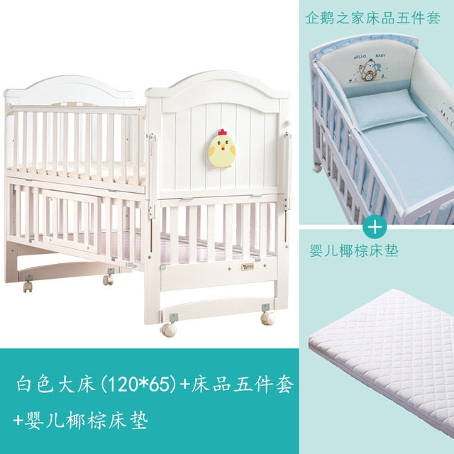 Crib baby bb bed cradle bed multifunctional child newborn stitching bed solid wood unpainted bed