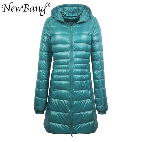 Image of NewBang 8XL Ladies Long Warm Down Coat With Portable Storage Bag Women Ultra Light Down Jacket Women's Overcoats Hip-Length