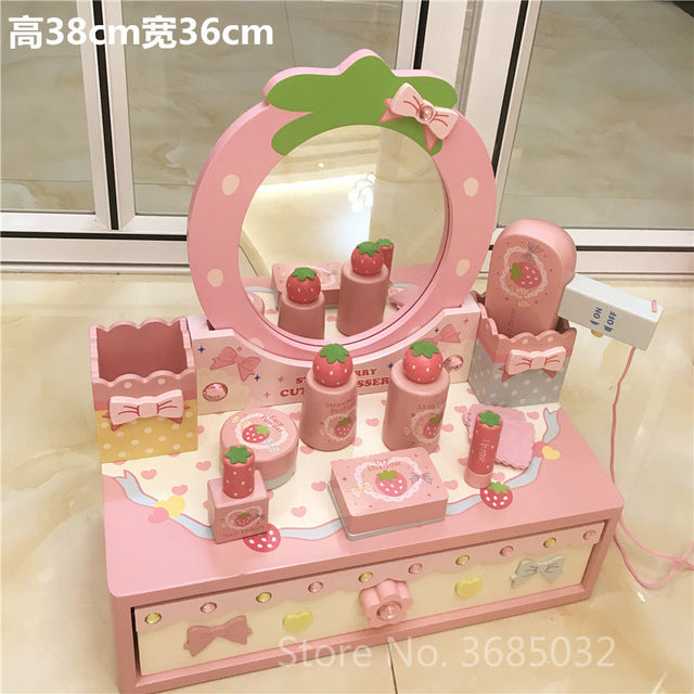 Pink Simulation Princess Dressing Table & chair Children's Dressers For 3-6 Years Old Home Wooden Toy Girls Child Birthday Gifts