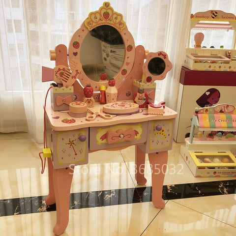 Image of Pink Simulation Princess Dressing Table & chair Children's Dressers For 3-6 Years Old Home Wooden Toy Girls Child Birthday Gifts