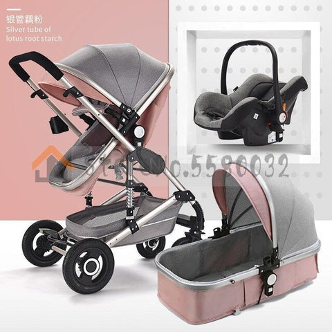 Image of Baby Stroller With High View Can Be Sitting, Lying, Folding, Bi-directional Shock Absorber For Newborns,    Child