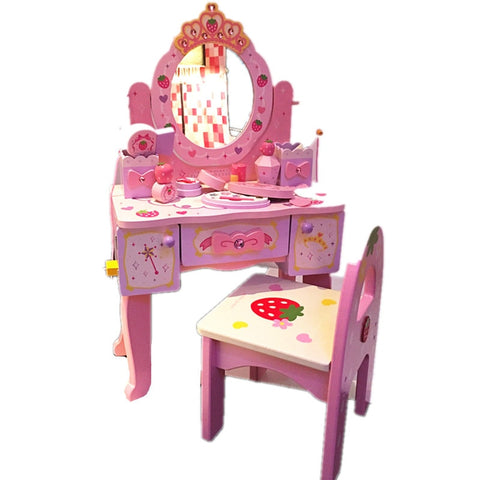 Image of Girl's Birthday 61 Gift Princess Simulated Dressing Table Children Home Wooden Toys
