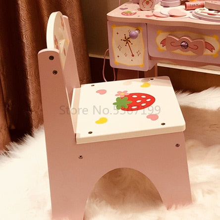 Girl's Birthday 61 Gift Princess Simulated Dressing Table Children Home Wooden Toys