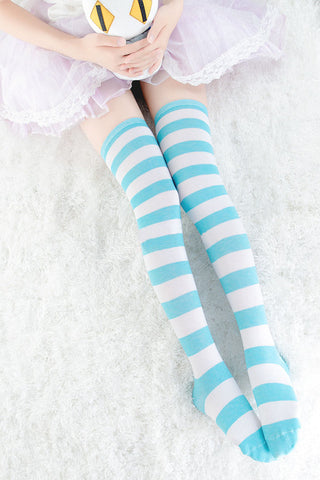 Image of Long Stripe Adorable Anime Tight High Over Knee Pink Blue White For Women Girl Cosplay Student Kawaii Lolita Cotton Stocking