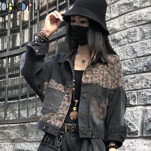 Image of Vintage Black Leopard Women Denim Jacket Spring Harajuku Punk Jean Jackets Coat Boyfriend Loose Pocket Fashion Streetwear