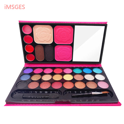 Image of Makeup Set 24 Color Shimmer Eyeshadow Palette 2 Blusher 4 Color Lipstick 2 Eyebrow Powder Face Skin Finish Powder with Brush D32