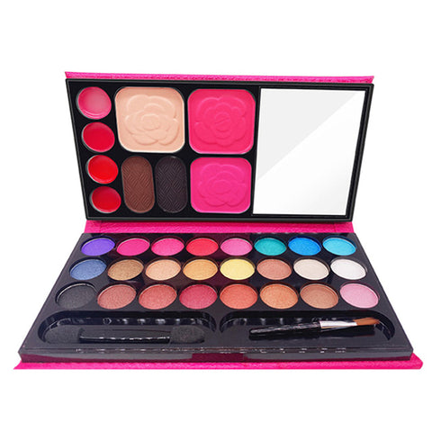 Makeup Set 24 Color Shimmer Eyeshadow Palette 2 Blusher 4 Color Lipstick 2 Eyebrow Powder Face Skin Finish Powder with Brush D32