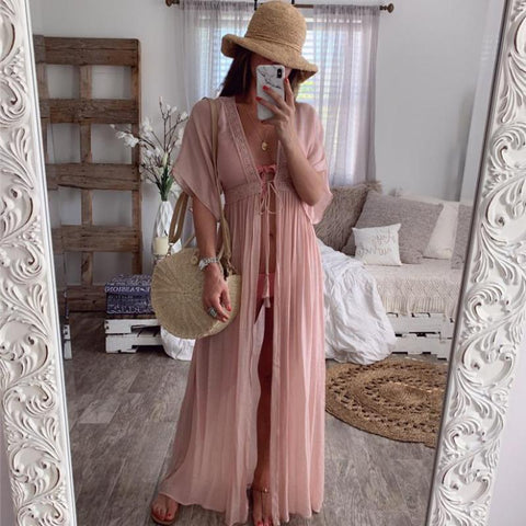 Image of 2020 Summer Solid Lace Beach Cover Up Long Cardigan Lace Up Swimwear Beach Dress Kaftan Beach Wear Swimsuit Pareo Saida De Praia