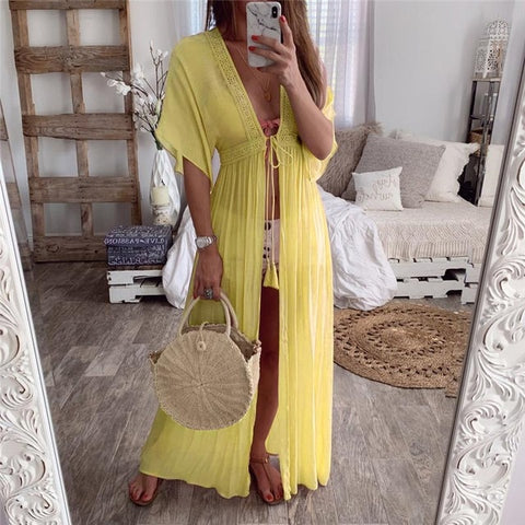 2020 Summer Solid Lace Beach Cover Up Long Cardigan Lace Up Swimwear Beach Dress Kaftan Beach Wear Swimsuit Pareo Saida De Praia