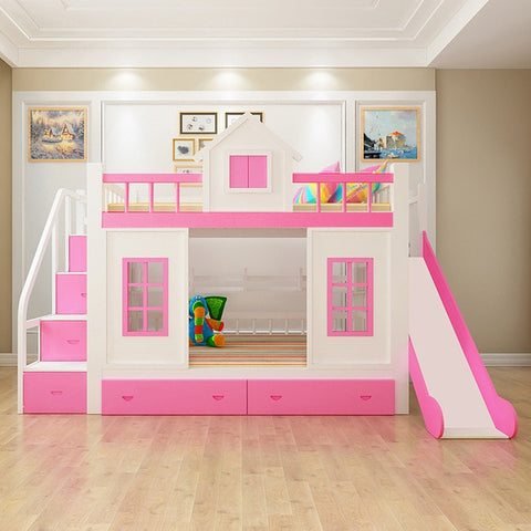 2016 modern solid wood Children's bed wood  bunk bed with ladder cabinet slider