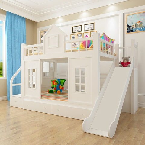 Image of 2016 modern solid wood Children's bed wood  bunk bed with ladder cabinet slider