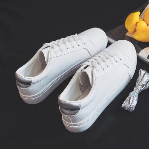 Image of Fashion Shoes Women's Vulcanize Shoes Spring New Casual Classic Solid Color PU Leather Shoes Women Casual White Shoes Sneakers