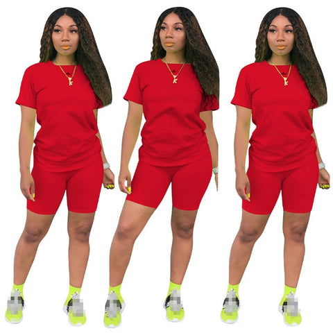Women two piece set summer o-neck crop top shorts 2 piece set for women two pieces sets tops shorts summer women' suit