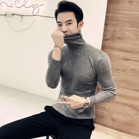 Image of 2019 Winter New Men's Turtleneck Sweaters Black Sexy Brand Knitted Pullovers Men Solid Color Casual Male Sweater Autumn Knitwear