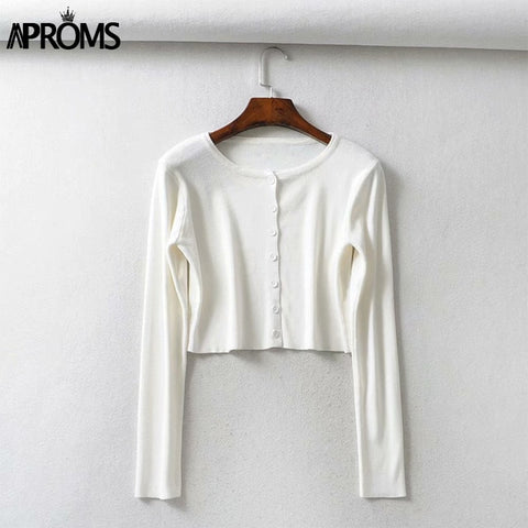 Image of Aproms Candy Color Ribbed Knitted Cardigan Women Autumn Winter Long Sleeve Basic Cropped Sweaters Female Casual Short Jumper Top