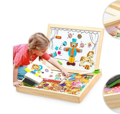 Image of K-STAR 3D Wooden Multifunctional Magnetic Kids Drawing Toys Table Children Puzzle For Education Animal