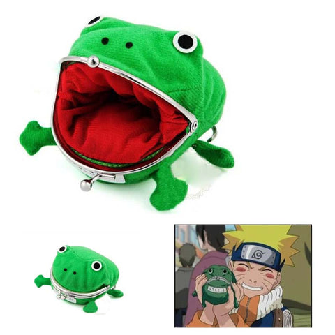 Image of Uzumaki Anime Naruto Cosplay Frog Shape Coin Purse Wallet Soft Furry Plush