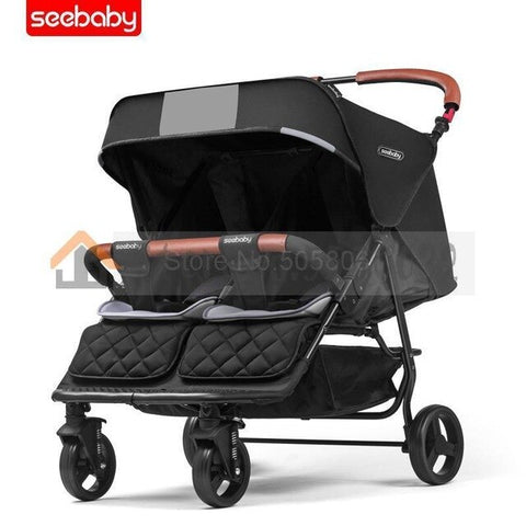 Image of Twin Stroller Light Can Sit Lie Four-wheel Shock Newborn Baby Twin Trolley