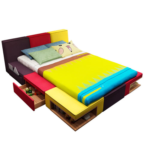 Image of Children's bed boy color combination bed fabric children cartoon bed bedroom children's furniture suite bed