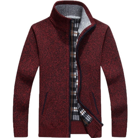 Image of Winter Thick Men's Knitted Sweater Coat Off White Long Sleeve Cardigan Fleece Full Zip Male Causal Plus Size Clothing for Autumn
