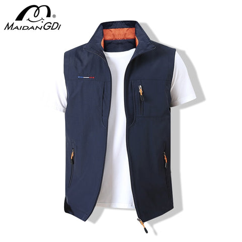 Image of MAIDANGDI Men's Waistcoat  Jackets Vest 2020 Summer New Solid Color Stand Collar  Climbing Hiking Work Sleeveless With Pocket