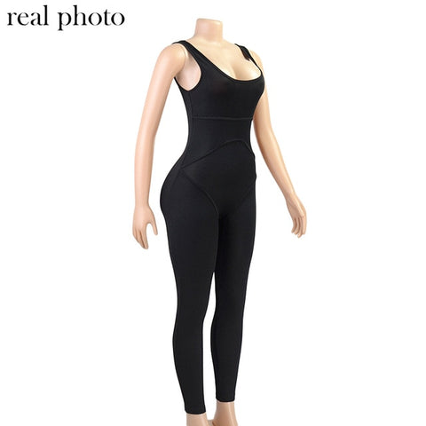 Image of Simenual Ribbed Casual Workout Rompers Womens Jumpsuit Backless Sleeveless Fitness Active Wear Bodycon Fashion Jumpsuits Summer