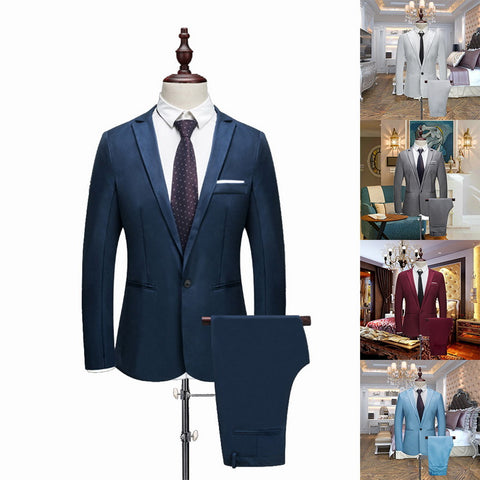 Image of Puimentiua 2020 New Male Wedding Prom Suit Green Slim Fit Tuxedo Men Formal Business Work Wear Suits 2Pcs Set (Jacket+Pants)