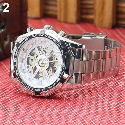 Image of Men's Hollow Skeleton Dial Automatic Mechanical Stainless Steel Band Wrist Watch Mas-culino Fashion Men's Watch Large Dial Milit