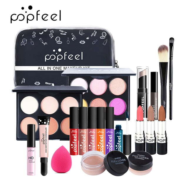 15 20 24PCS/Set Make Up Sets Cosmetics Kit Eyeshadow Lipstick Eyebrow Pencil Lip Gloss Makeup Brush Powder Puff with Makeup Bag