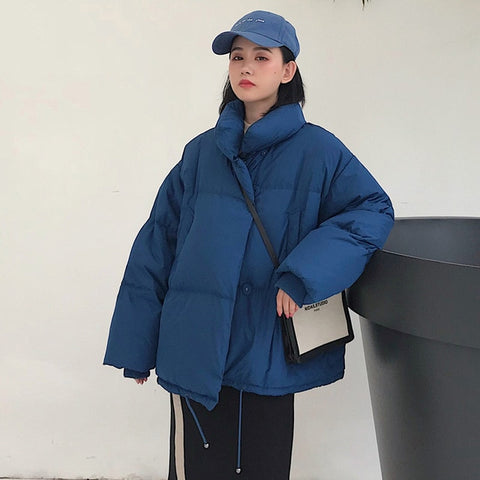 Image of Korean Style 2019 Winter Jacket Women Stand Collar Solid Black White Female Down Coat Loose Oversized Womens Short Parka
