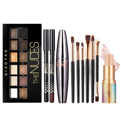 Image of Cocute 5Pcs Makeup Set Box Maquillaje Profesional Eyeshadow Palette Eyebrow Pen Mascara Highlighter Stick Makeup Kits For Women