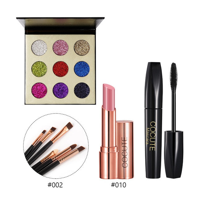Cocute 5Pcs Makeup Set Box Maquillaje Profesional Eyeshadow Palette Eyebrow Pen Mascara Highlighter Stick Makeup Kits For Women