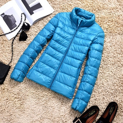 Image of Down Parka Women Ultra-light Thin Down Jacket 2019 Autumn Winter Slim Short Hooded Warm White Duck Down Coat Women's Outerwear
