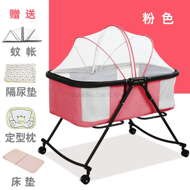 Baby Cot Foldable Portable Baby Cot Multifunctional Newborn Cradle Bed Comfort BB Bed with Roller