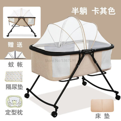 Image of Baby Cot Foldable Portable Baby Cot Multifunctional Newborn Cradle Bed Comfort BB Bed with Roller