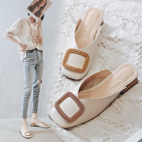 Image of Designer Women Pumps Slippers Slip on Mules Low Heel Casual Shoes British Wooden Block Heels Summer Pumps Footwear