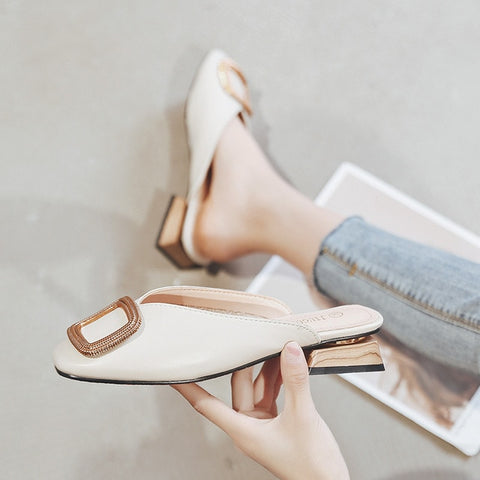 Designer Women Pumps Slippers Slip on Mules Low Heel Casual Shoes British Wooden Block Heels Summer Pumps Footwear