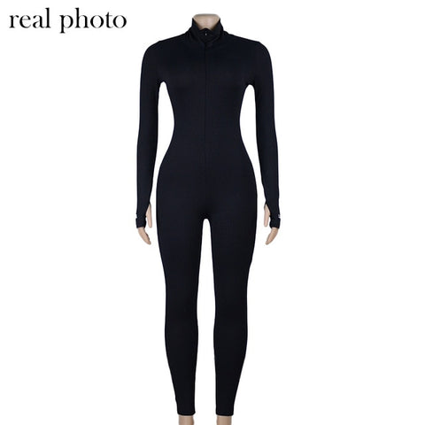 Image of Simenual Workout Active Wear Ribbed Rompers Womens Jumpsuit Sporty Long Sleeve Fitness Embroidery Letter Print Zipper Jumpsuits
