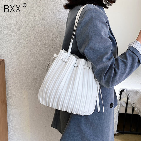 Image of [BXX] Solid Color PU Leather Bucket Bag Female Crossbody Bags For Women 2020 Summer Sweet High Capacity Shoulder Handbags HM691