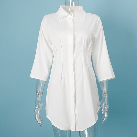 Image of Summer White Pleated Tunic Women's Long Shirts Adjustable Sleeve Single Breasted Shirt Female 2020 Casual Ladies Office Clothes