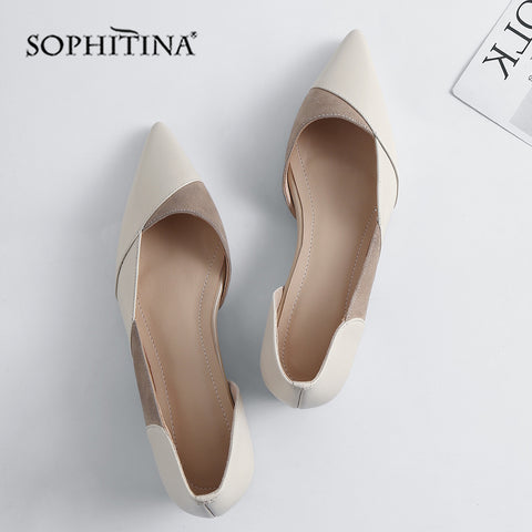 Image of SOPHITINA Flats Women High Quality Patchwork Genuine Leather Fashion Pointed Toe Leisure Shoes Elegant Slip-on Flats Shoes MO160