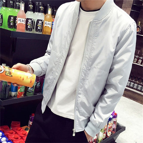 Image of Slim Fit Solid Mens Bomber Jacket 2020 Spring Autumn Male Baseball Thin Jackets Brand Casual Coat Top Men's windbreaker Jacket