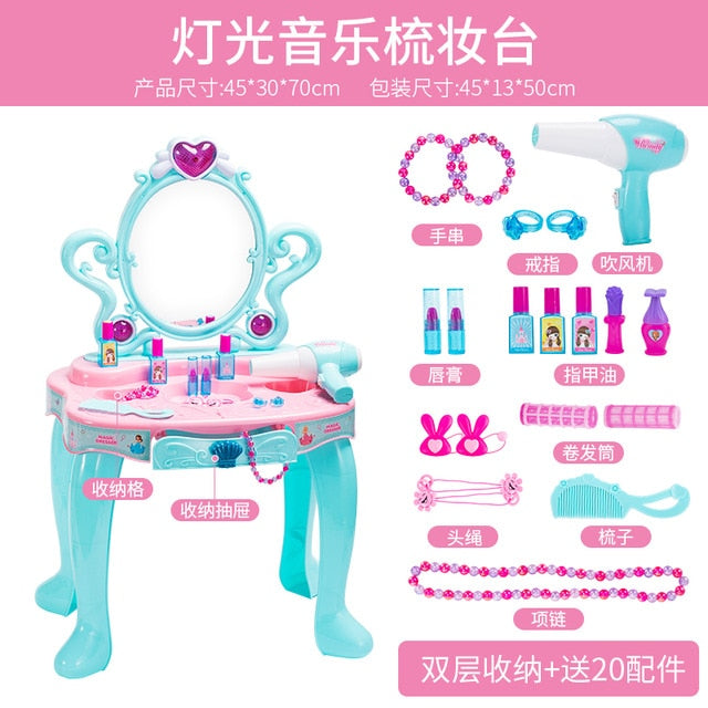 Girl Baby Makeup Table Toy Children Simulated Dressing Mirror 3-6 Years Old Girl Princess Home